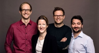 Homeday Management-Team – v.l.n.r.: Philipp Reichle (CTO), Friederike Hesse (COO), Steffen Wicker (CEO) und Dmitri Uvarovski (CMO) / Quelle: Homeday